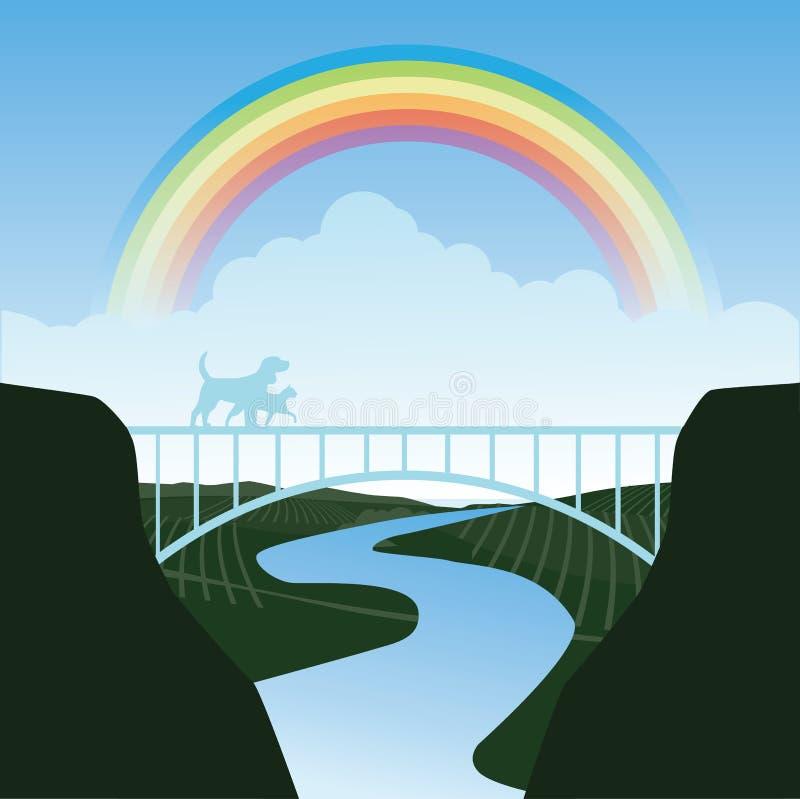Animali domestici che attraversano il ponte dell'arcobaleno royalty illustrazione gratis