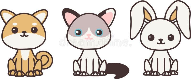 Animali domestici di Kawaii royalty illustrazione gratis