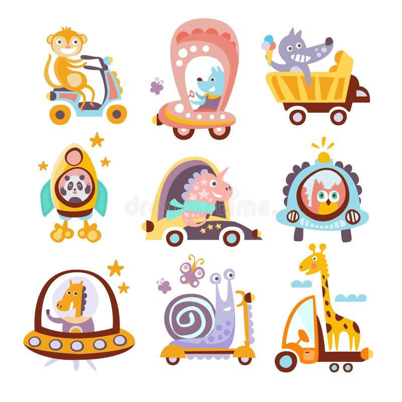 Animali e disegni di fantasia del trasporto messi illustrazione di stock