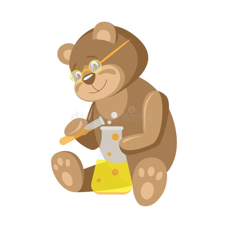 Animali e professioni L'orso è uno scienziato chimico dell'Orso illustrazione di stock