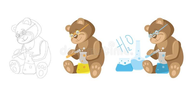 Animali e professioni L'orso è uno scienziato chimico dell'Orso royalty illustrazione gratis