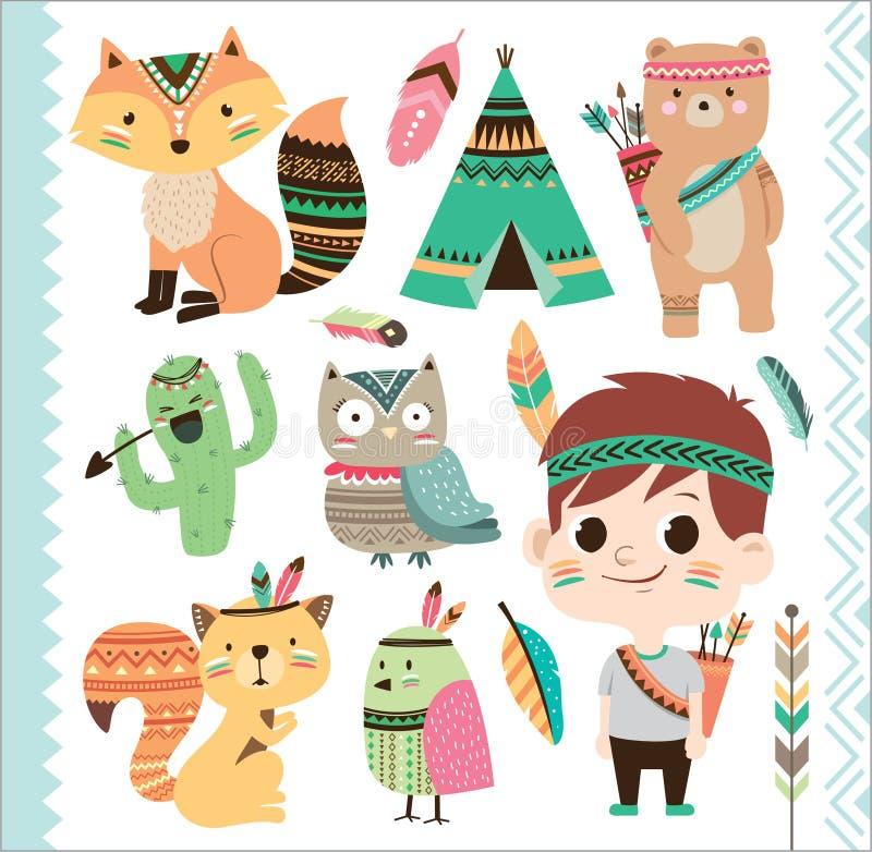Animali e ragazzino tribali svegli illustrazione di stock