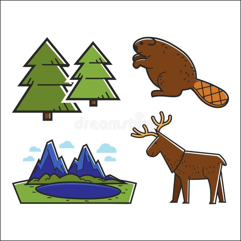 Animali ed insieme della foresta illustrazione di stock