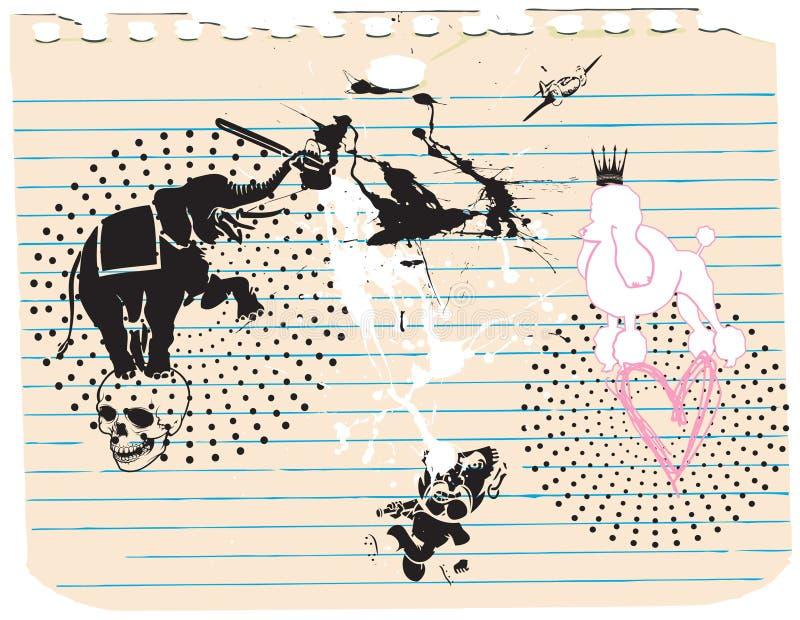 Animali - elefante e cane illustrazione vettoriale
