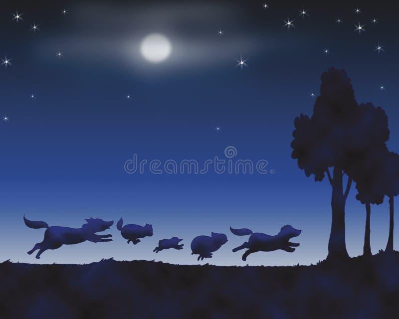 Animali entro la notte royalty illustrazione gratis