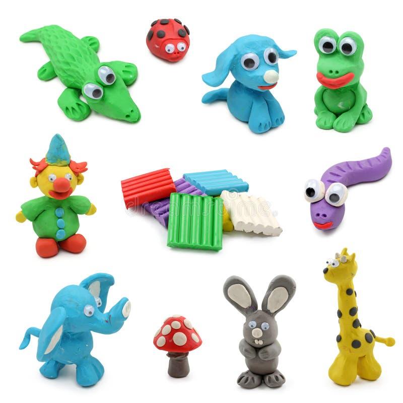 Animali fatti dall'argilla del gioco del bambino immagini stock