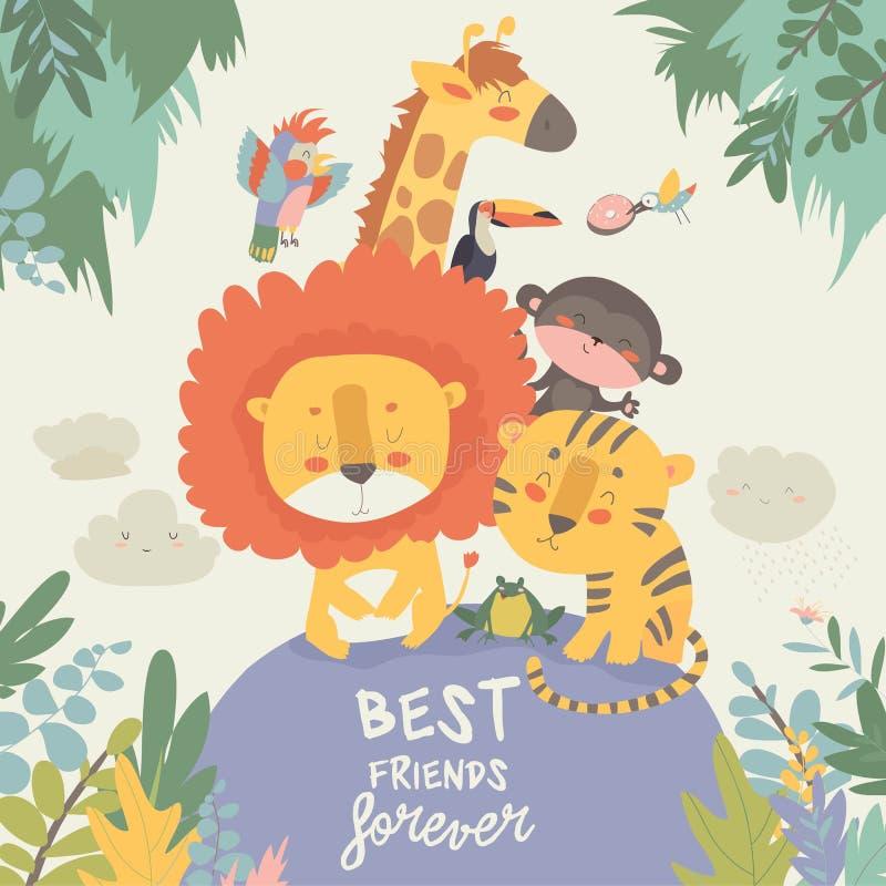 Animali felici della giungla Migliori amici illustrazione di stock