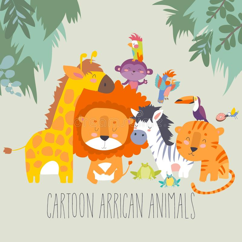 Animali felici della giungla Migliori amici royalty illustrazione gratis
