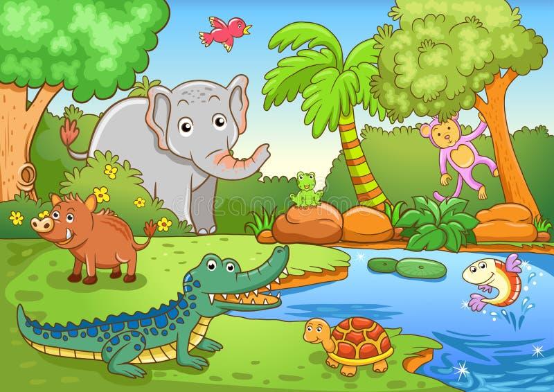 Animali in foresta. illustrazione vettoriale