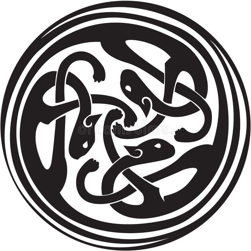 Animali intrecciati celtici illustrazione di stock