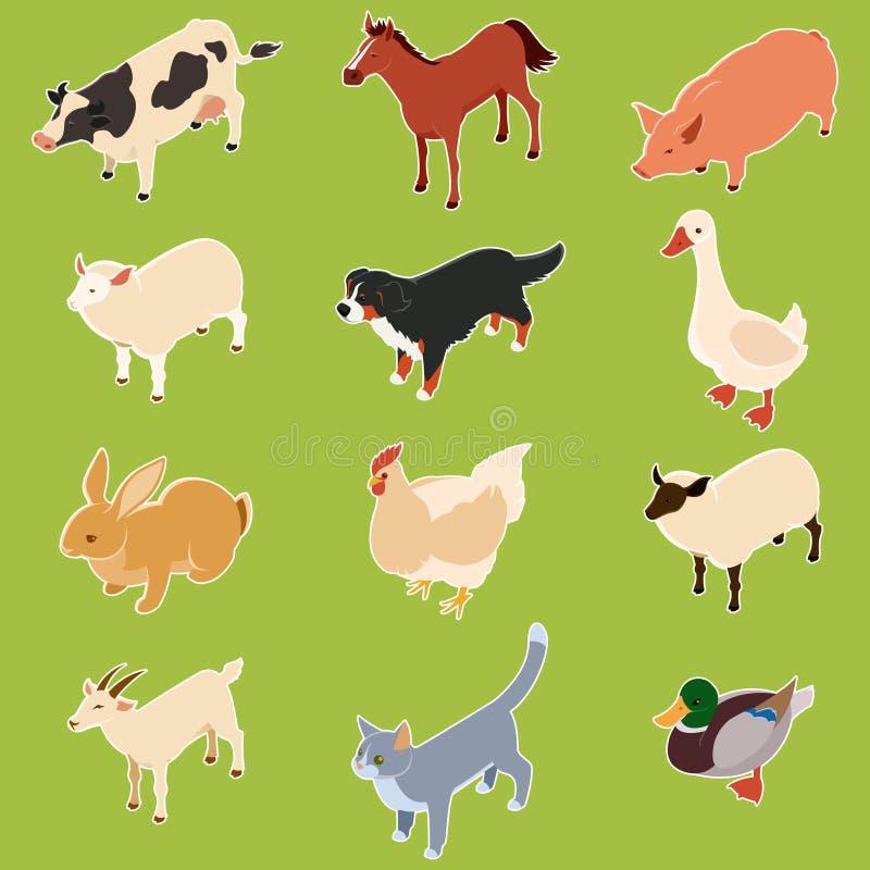 Animali isometrici domestici royalty illustrazione gratis