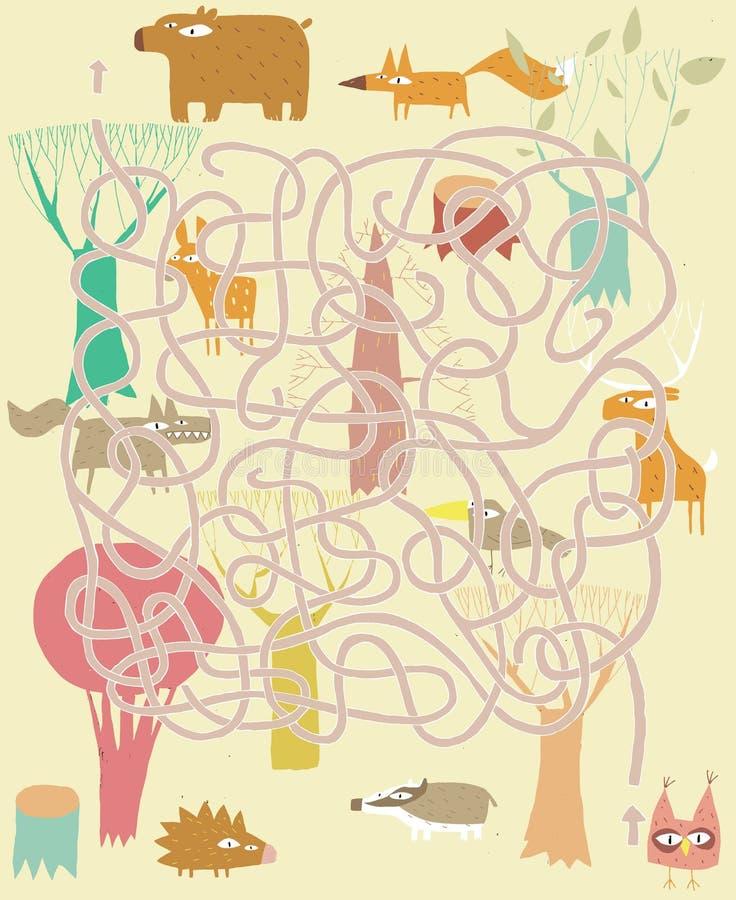 Animali Maze Game. Soluzione nello strato nascosto! royalty illustrazione gratis