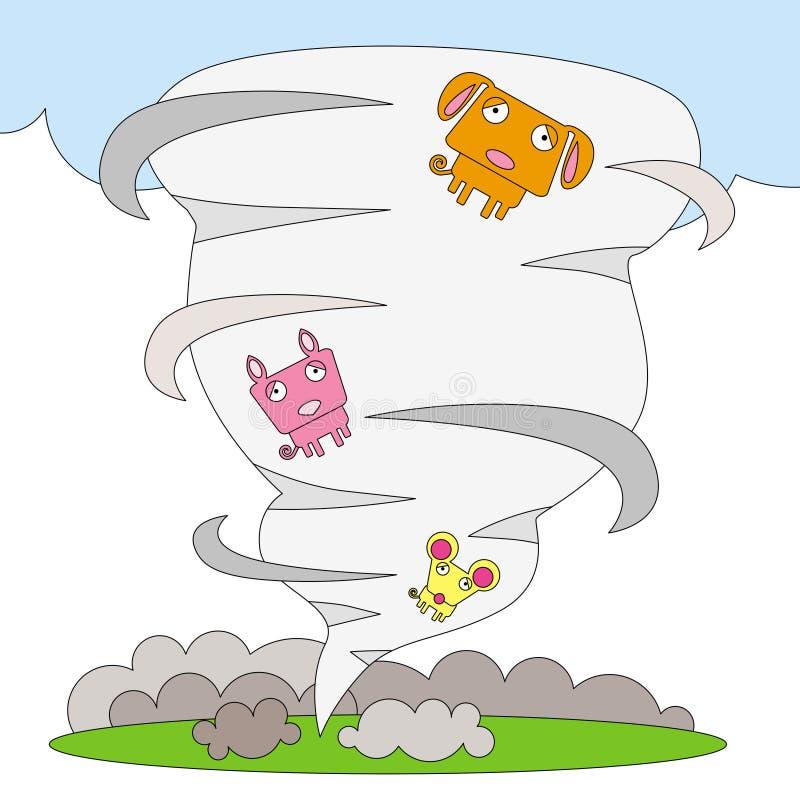 Animali nel tornado royalty illustrazione gratis
