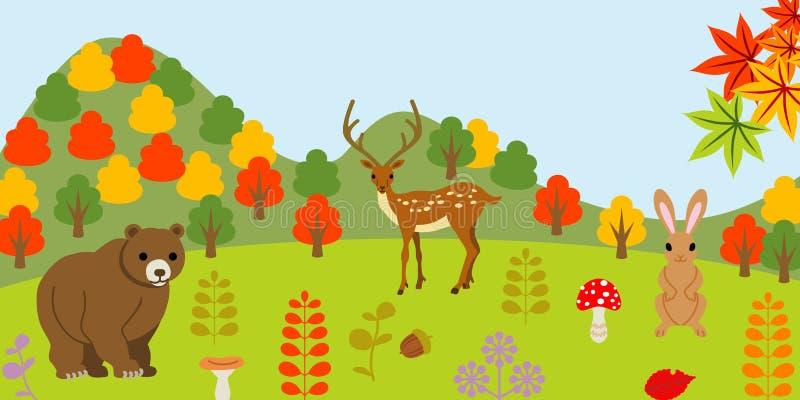 Animali nella foresta di autunno illustrazione di stock