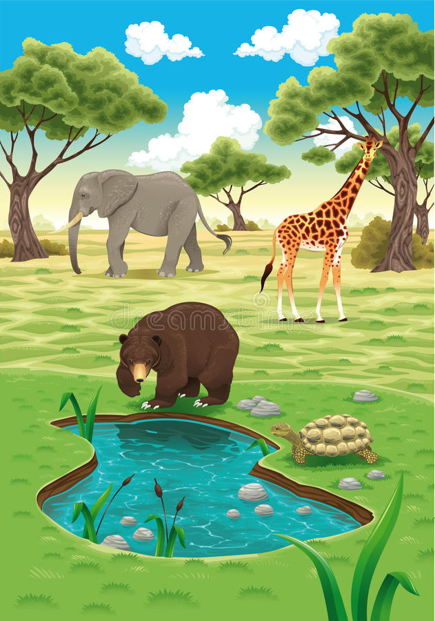 Animali nella natura. illustrazione vettoriale