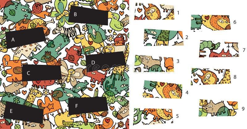 Animali: Pezzi della partita, gioco visivo Soluzione nello strato nascosto! royalty illustrazione gratis