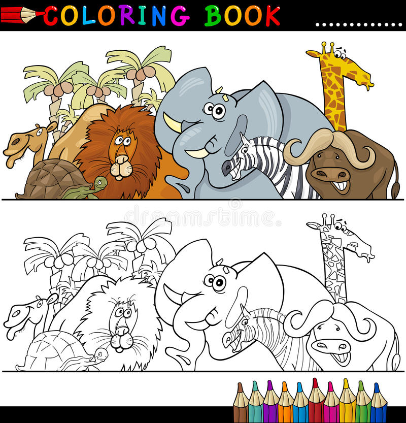 Animali selvaggi di safari per coloritura illustrazione vettoriale