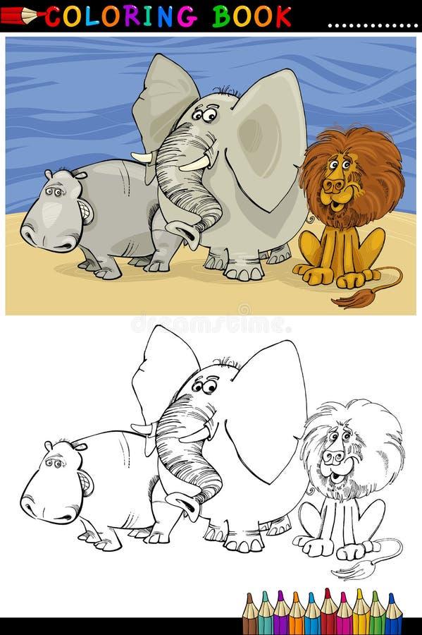Animali selvaggi di safari per coloritura illustrazione di stock