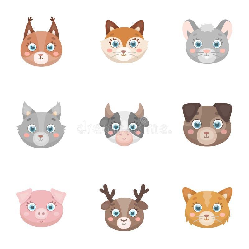 Animali selvaggi e domestici Un insieme delle immagini circa gli animali Icona animale della museruola nella raccolta dell'insiem illustrazione di stock