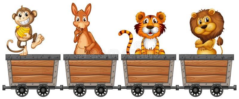 Animali selvatici in carretti di estrazione mineraria royalty illustrazione gratis
