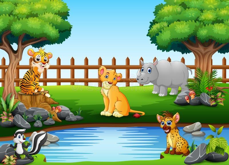 Animali selvatici che giocano sull'orlo di bello piccolo stagno illustrazione vettoriale