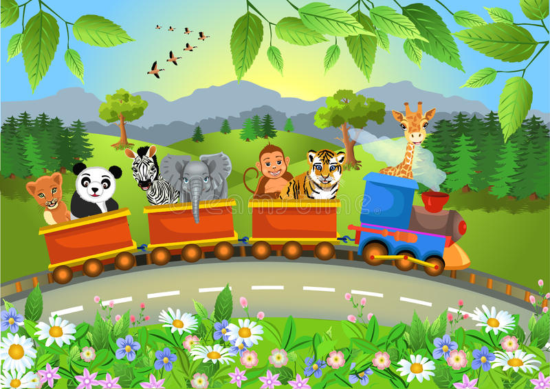 Animali selvatici che vanno in treno illustrazione di stock