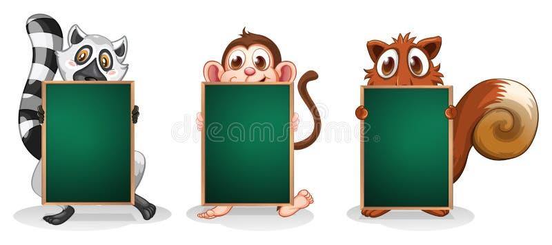 Animali selvatici con le insegne verdi vuote illustrazione di stock