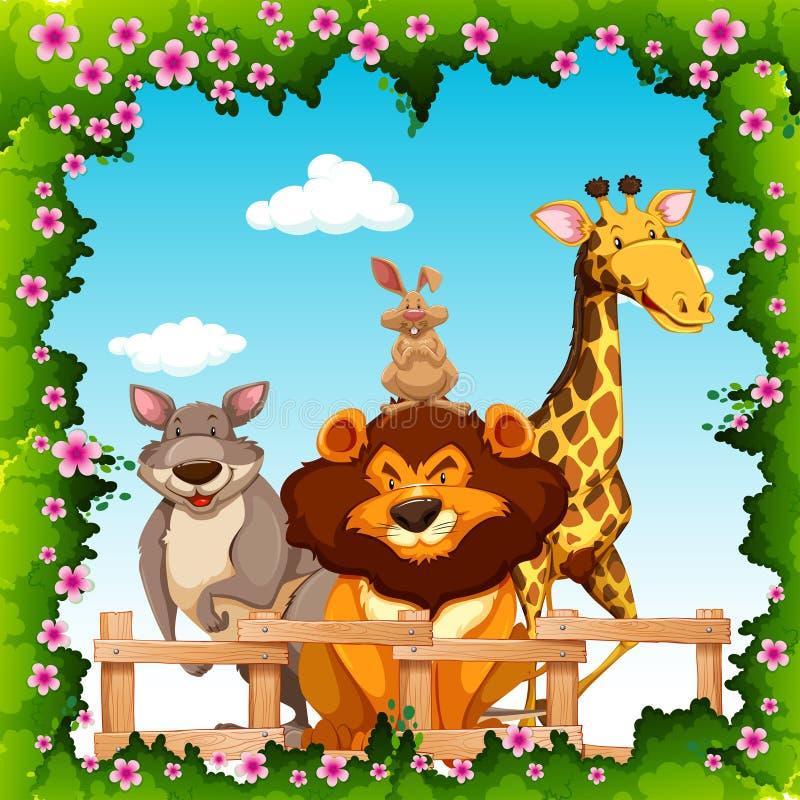 Animali selvatici dietro il recinto illustrazione vettoriale