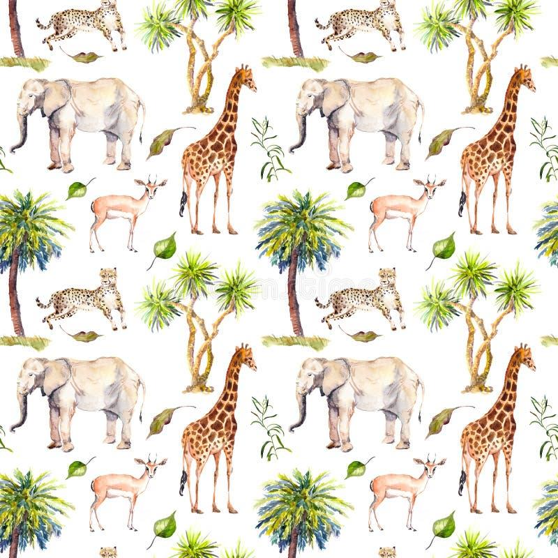 Animali selvatici - giraffa, elefante, ghepardo, antilope in savana e palme Ripetizione della priorità bassa watercolor royalty illustrazione gratis