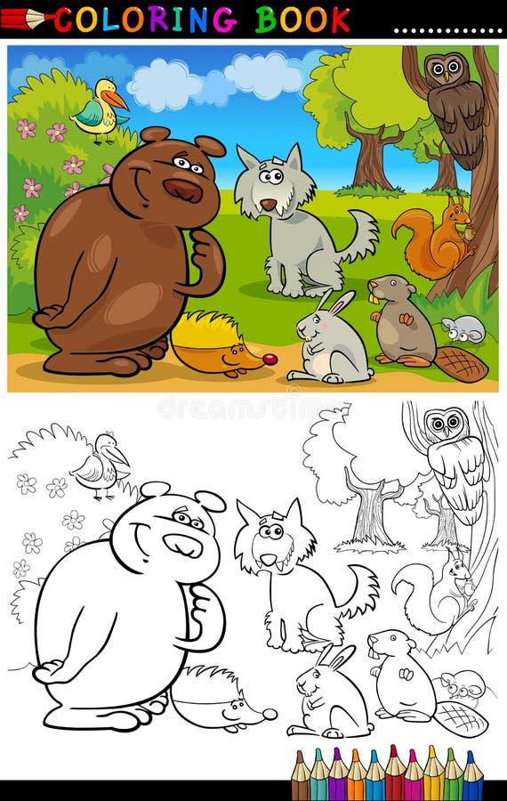 Animali selvatici per coloritura illustrazione di stock