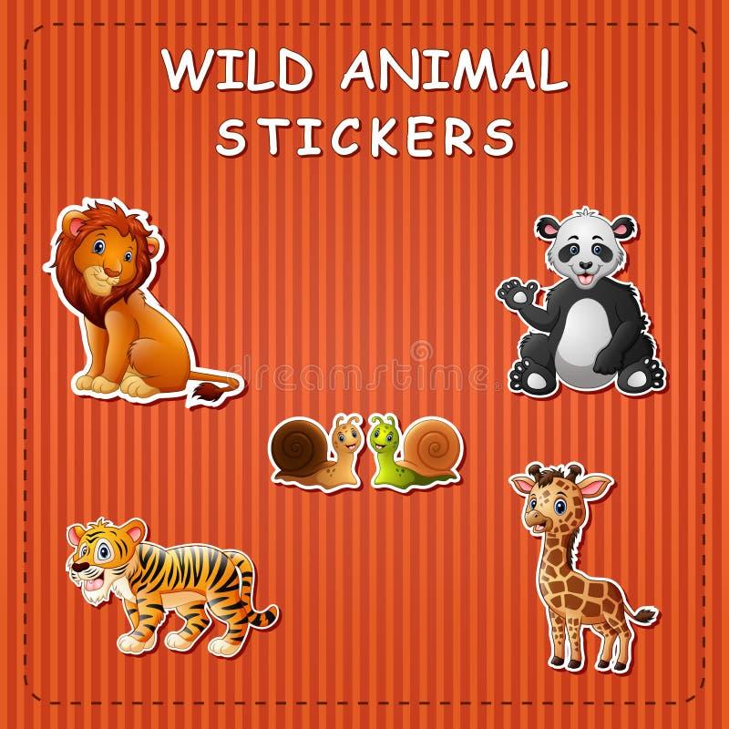 Animali selvatici svegli del fumetto sull'autoadesivo illustrazione di stock