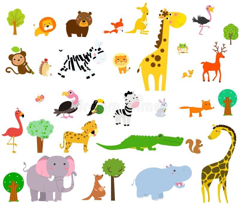 Animali selvatici svegli Safari africano Illustrazione di vettore royalty illustrazione gratis