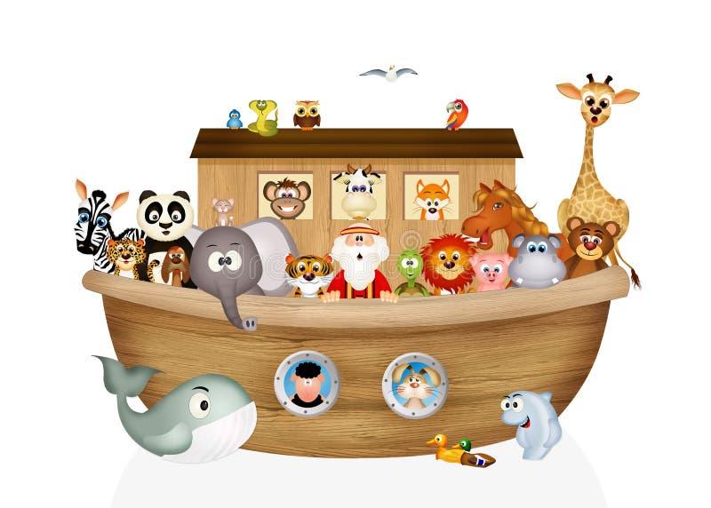 Animali su Noah& x27; arca di s royalty illustrazione gratis