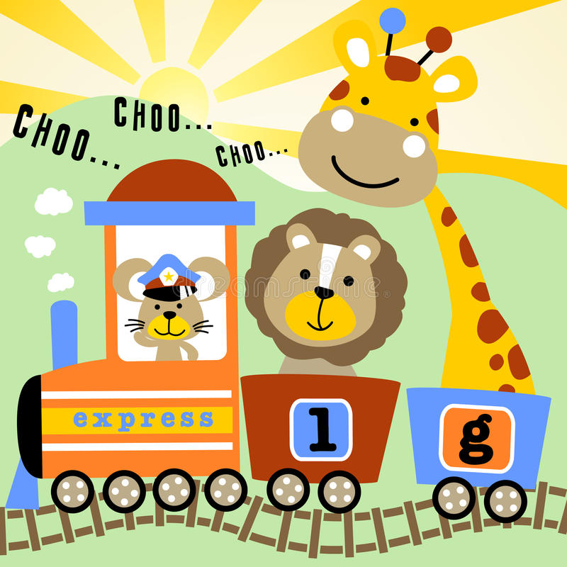 Animali svegli con il treno del carbone illustrazione vettoriale