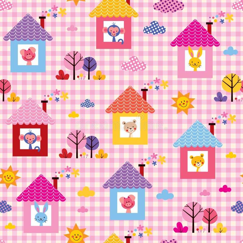 Animali svegli del bambino nel modello dei bambini delle case illustrazione di stock