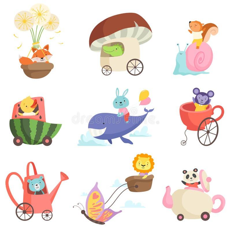 Animali svegli del bambino nell'insieme di trasporto, Fox, coccodrillo, scoiattolo, pollo, coniglietto, orso, leone, scimmia, Pan illustrazione vettoriale