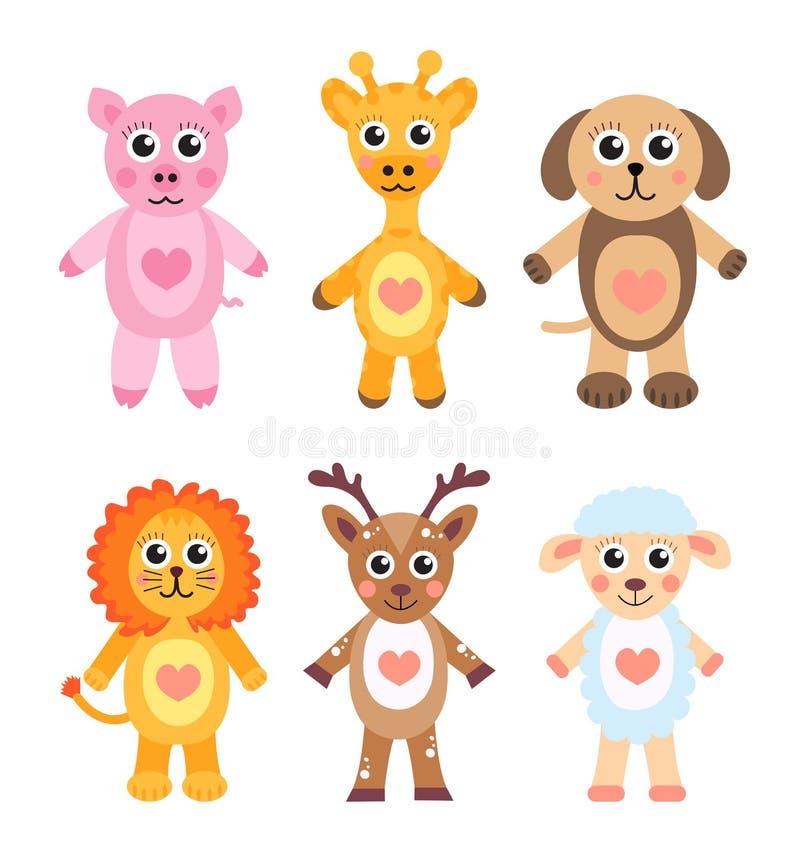 Animali svegli del fumetto messi Animali del bambino su un fondo bianco Illustrazione di vettore royalty illustrazione gratis