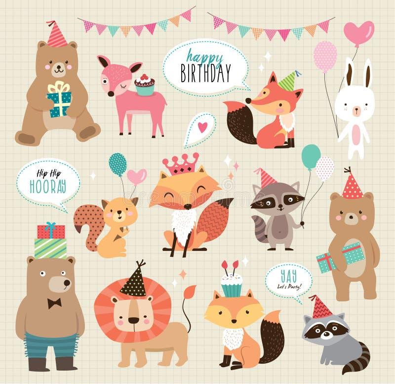 Animali svegli di compleanno del fumetto illustrazione vettoriale