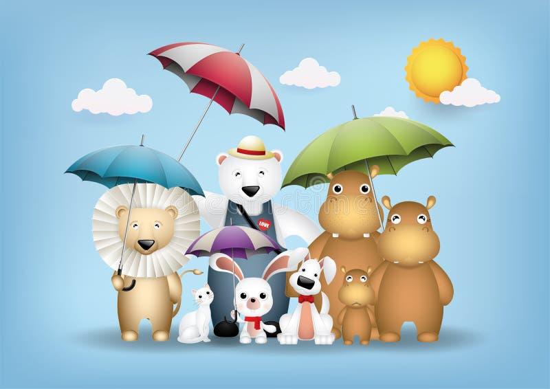 Animali svegli ed ombrelli variopinti illustrazione vettoriale