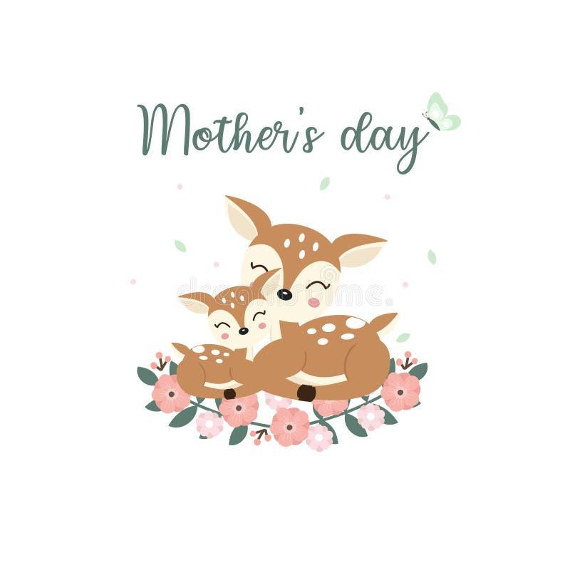 Animali svegli per la carta di giorno di madri Mamma dei cervi ed il suo fumetto del bambino royalty illustrazione gratis