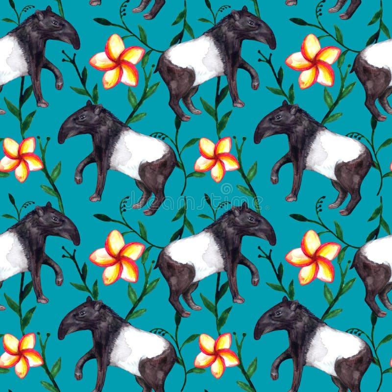 Animali tropicali asiatici iper-realistici svegli tapiro e fiori dell'acquerello su fondo blu royalty illustrazione gratis
