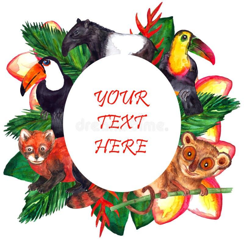Animali tropicali dell'acquerello sveglio - struttura ovale illustrazione di stock