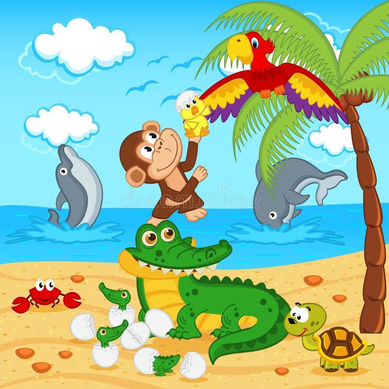Animali trovati nel pappagallo dell'uovo del coccodrillo delle uova royalty illustrazione gratis