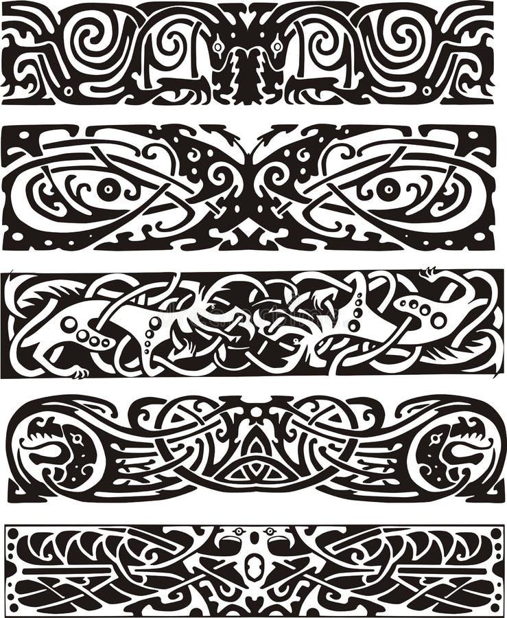 Animalistic fnurendesigner i celtic stil royaltyfri illustrationer