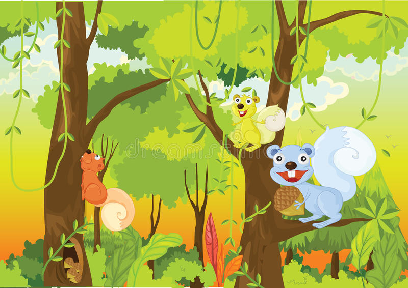 Animals. Illustration of animals in a jungle