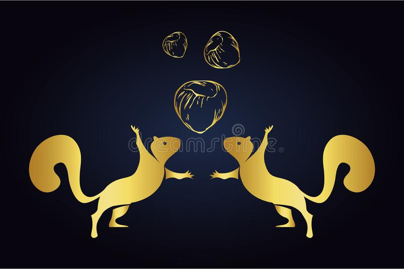 Jumping squirrels silhouettes and hazelnuts isolated on dark background. Logo of squirrels with three nuts in golden color. Squirr vector illustration