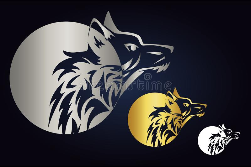 Wolf head silhouette with circle in gold, silver and white colors. Side view of wild animal and round shape. Wolf logo. Vector wolf head silhouette with circle stock illustration