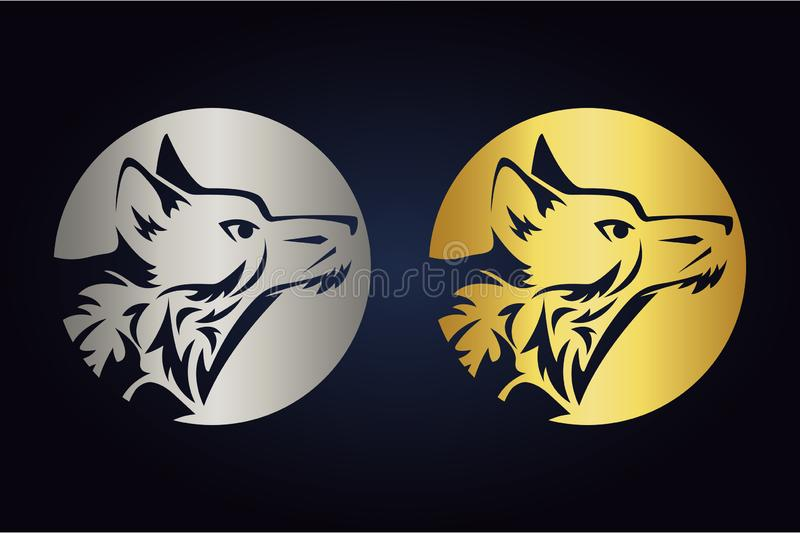 Wolf head silhouette inside circle in gold and silver colors. Side view of wild animal in round shape. Wolf logo inside the moon. Vector wolf head silhouette royalty free illustration