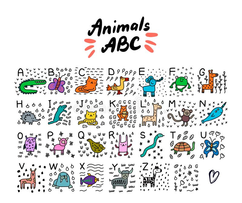 Animals abc alphabet hand drawn vector illustration in cartoon style set alligator cat jaguar turtle fish lama frog snake vector illustration