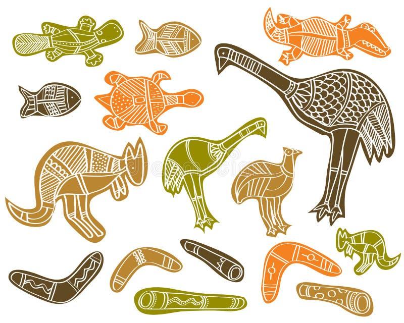 Animals aboriginal. Animals- aboriginal australian style drawings royalty free illustration